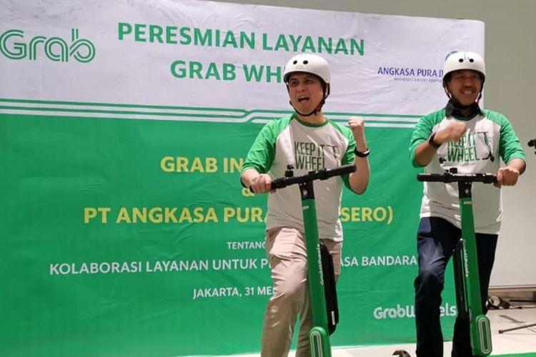 Grab Wheels resmi diluncurkan sebagai salah satu moda transportasi yang tersedia di Terminal 3 Bandara Soekarno-Hatta, Jumat (31/5/2019).