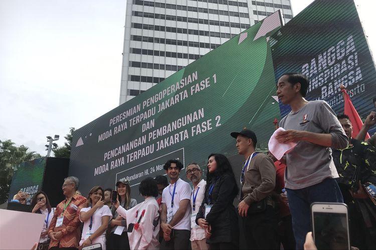 Presiden Joko Widodo meresmikan MRT, Minggu (24/3/2019) di Bundaran HI, Jakarta Pusat.