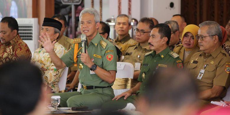 Gubernur Jawa Tengah Ganjar Pranowo saat menghadiri Musrenbangwil se eks Keresidenan Pati, Rabu (27/3/2019) di Pendopo Kabupaten Pati. Ini merupakan Musrenbangwil terakhir di Jawa Tengah untuk tahun anggaran 2020.