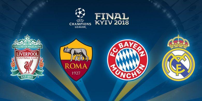 Empat tim (Liverpool, AS Roma, Bayern Muenchen, dan Real Madrid) yang berhasil melanjutkan ke laga semifinal Liga Champions 2018.