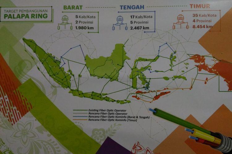 Peta pembagian wilayah proyek Palapa Ring di seluruh wilayah Indonesia