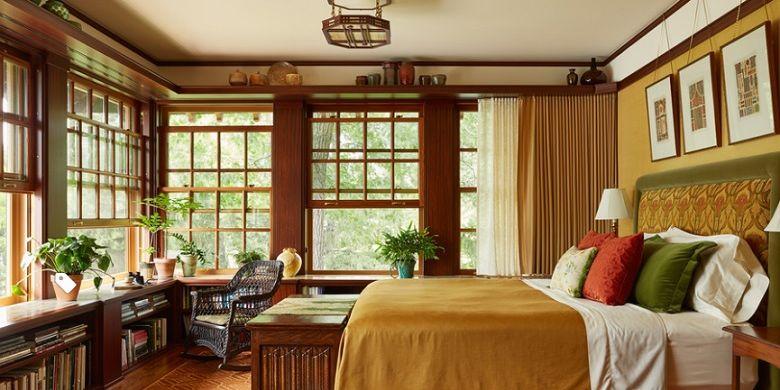 Ilustrasi kamar dengan jendea