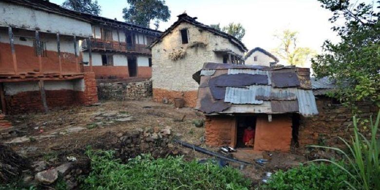 Ilustrasi kawasan permukiman di Nepal.