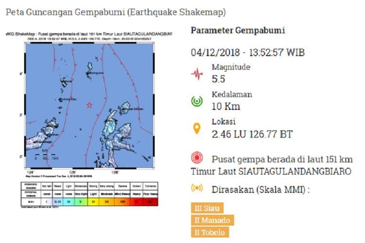 Peta guncangan gempa bumi 4 Desember 2018