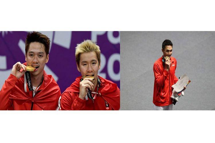 Pasangan Marcus Gideon/Kevin Sanjaya dan Jonatan Christie, peraih medali emas Asian Games 2018 untuk Indonesia dari cabang olahraga bulutangkis