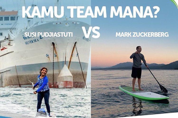 Ilustrasi Paddle Susi Pudjiastuti vs Mark Zuckerberg dari @supandkayakevent