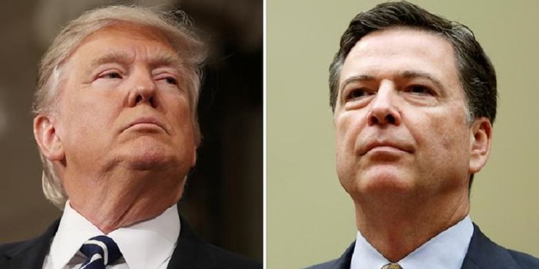 Presiden AS Donald Trump dan Direktur FBI James Comey yang dipecat Trump.
