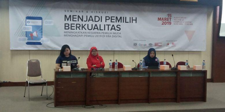 Fakultas Ilmu Pengetahuan Budaya (FIB) Universitas Indonesia (UI) dan Suara Mahasiswa (Suma) menggelar seminar ?Menjadi Pemilih Berkualitas? yang diadakan di Auditorium FIB UI, Depok, Jawa Barat (15/3/2019).