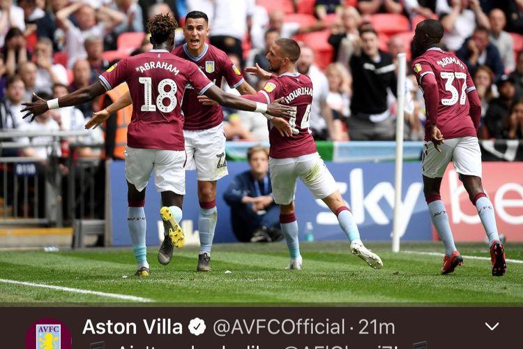 Ekspresi Anwar El Ghazi setelah mencetak gol pertama pada pertandingan Aston Villa vs Derby County di Stadion Wembley, Senin (27/5/2019).