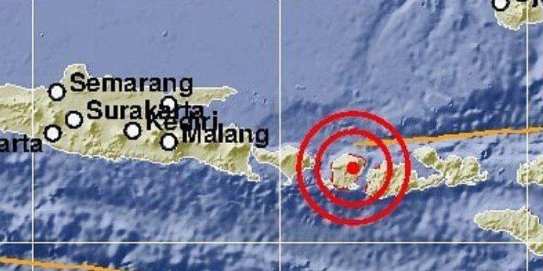 Pusat gempa M 5,4 yang guncang Lombok Timur pada Minggu (17/3/2019).