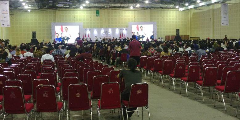 Presiden Joko Widodo menghadiri peresmian pembukaan BTN Digital Startup 2018 di Balai Kartini, Jakarta, Jumat (7/12/2018) pagi. Saat acara dimulai, banyak kursi yang masih kosong.