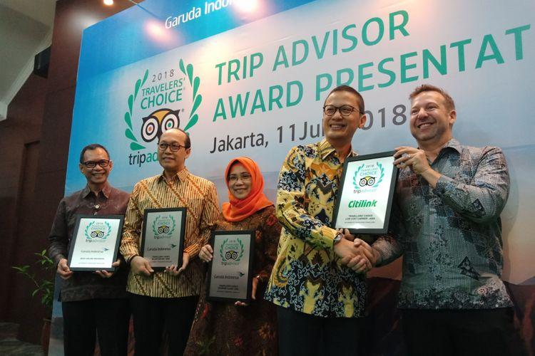 Garuda Indonesia dan Citilink mendapat penghargaan Trip Advisor 2018 Travellers Chice Award untuk beberapa kategori, di Jakarta, Rabu (11/7/2018).