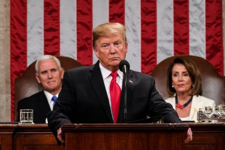 Presiden Amerika Serikat Donald Trump pidato kenegaraan atau State of the Union di US Capitol, Washington DC, pada Selasa (5/2/2019). (AFP/Doug Mills)