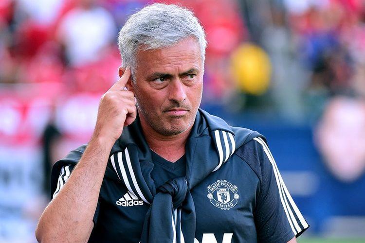 Manajer Manchester United, Jose Mourinho, menjelang pertandingan timnya melawan Los Angeles Galaxy di StubHub Center, 15 Juli 2017, dalam laga pra-musim.