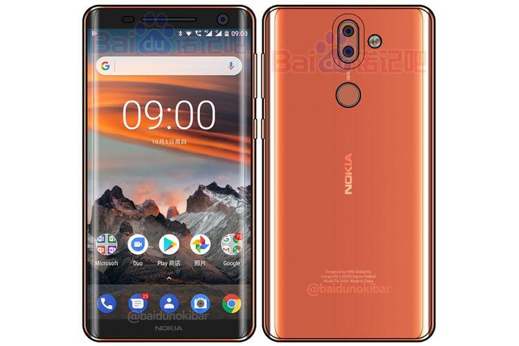 Gambar rekaan Nokia 9 yang beredar dari China.