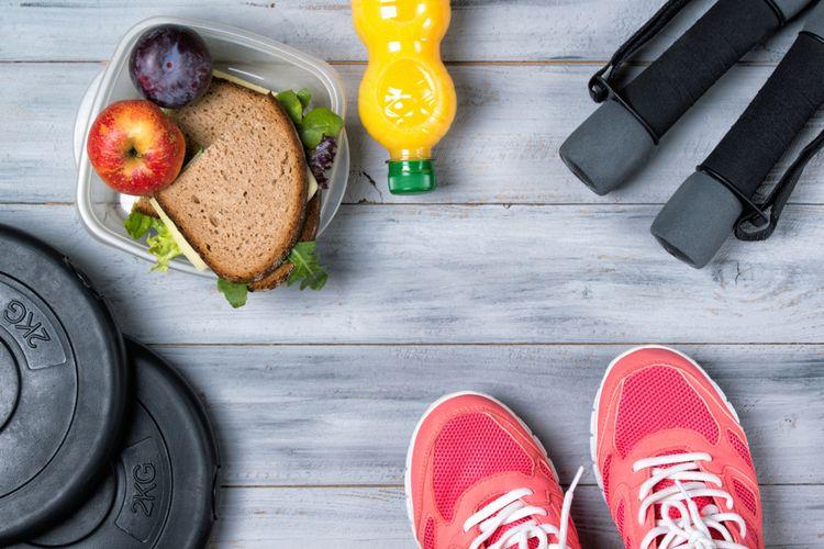 Ilustrasi makanan sehat dan olahraga