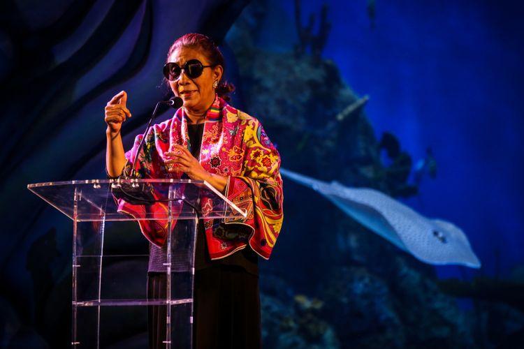 Menteri Kelautan dan Perikanan (KKP), Susi Pudjiastuti memberikan sambutan saat meresmikan Jakarta Aquarium di Neo SOHO Mall, Jakarta Barat, Selasa (16/10/2018). Menteri Kelautan dan Perikanan (KKP), Susi Pudjiastuti meresmikan Jakarta Aquarium yang memiliki konsep edutainment sekaligus dapat menjadi sebuah destinasi wisata baru bagi masyarakat.