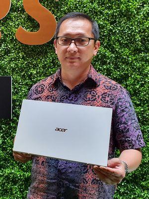 Presiden Direktur Acer Indonesia, Herbert Ang di acara peluncuran Acer Swift 7 di Jakarta, Kamis (27/6/2019). (KOMPAS.com/ RESKA KOKO NISTANTO)