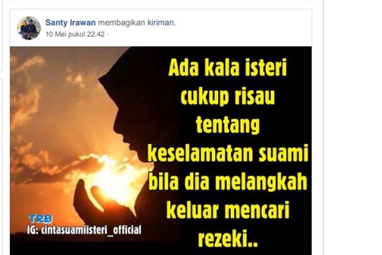 Kerisauan Santy Irawan, istri Joko Wirawan korban pembunuhan sadis yang mayatnya di buang ke Sungai Cimpu, Kecamatan Suli, Kabupaten Luwu, tergambar di dinding akun Facebooknya, Selasa (21/05/2019). Sumber Facebook.