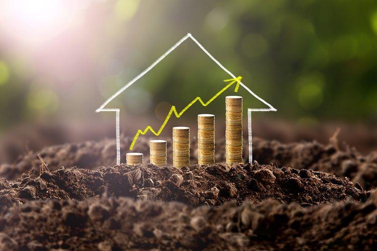 Ilustrasi rumah dan harga yang terus naik