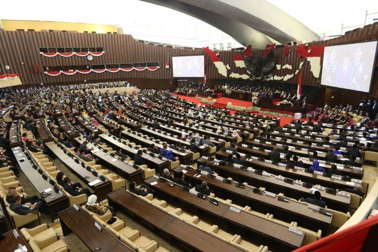 Suasana Sidang Tahunan MPR yang berlangsung di Kompleks Parlemen, Senayan, Jakarta, Kamis (16/8/2018).