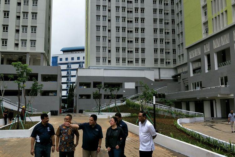 Menko PMK Puan Maharani dan CdM Indonesia di Asian Games Wakapolri Komjen Syafruddin meninjau Wisma Atlet Kemayoran, Jakarta, Minggu (4/2/2018).