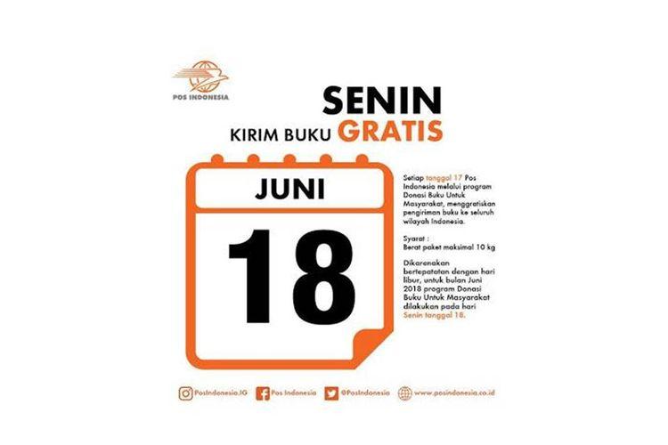 Pengiriman buku gratis melalui PT Pos Indonesia pada hari ini, 18 Juni 2018
