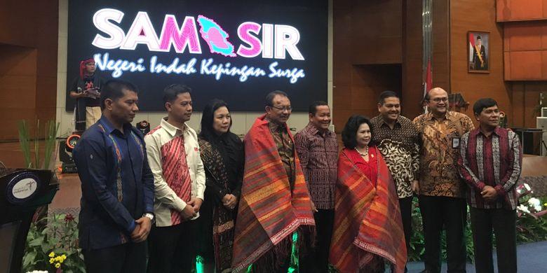 Grand Launching Horas Samosir Fiesta 2018 di Balairung Soesilo Soedarman, Gedung Sapta Pesona, kantor Kementerian Pariwisata, Kamis malam (15/2/2018).