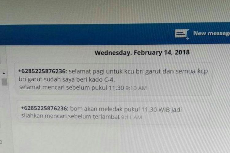 SMS ancaman bom yang diterima BRI yang membuat semua kantor BRI di Garut Ditutup