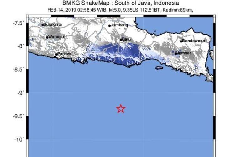 Gempa di Samudra Hindia selatan Jawa berkekuatan 5,0 terjadi pada 14 Februari 2019 pukul 2.58 WIB. Kedalaman gempa 69 kilometer.