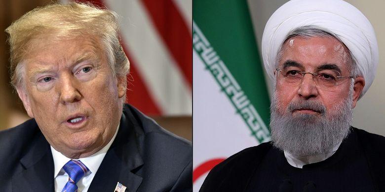Presiden Amerika Serikat Donald Trump (kiri) dan Presiden Iran Hassan Rouhani.