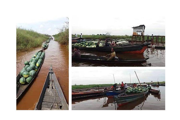 Video deretan perahu yang mengangkut hasil panen semangka menarik perhatian netizen. Aktivitas ini terjadi di Desa Baruh Jaya, Daha Selatan, Kalimantan Selatan.
