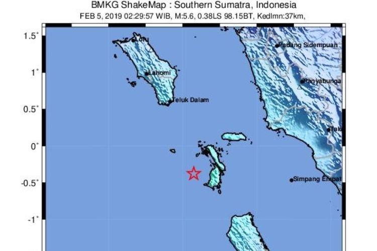 Gempa di Nias Selatan terjadi Selasa dini hari (5/2/2019) pukul 2.29 WIB. Gempa ini berkekuatan M 5,6.