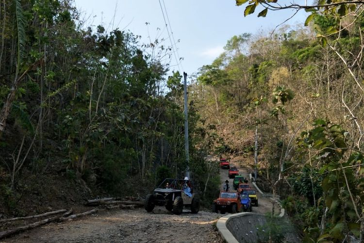Offroad di kawasan Gunungkidul melewati jalan berbatu di tengah hutan jati.