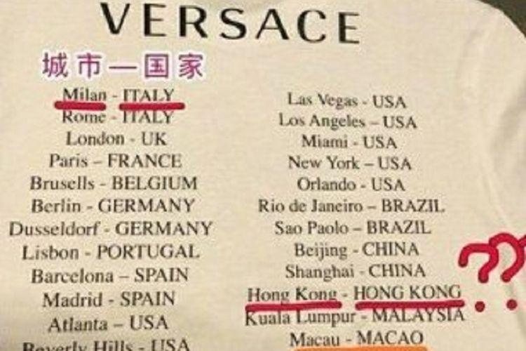 Desain kaus Versace yang melahirkan polemik di China.