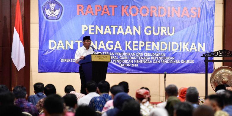 Mendikbud Muhadjir Effendy dalam pembukaan Rakor Penataan Guru dan Tenaga Kependidikan di Jakarta (15/11/2018).
