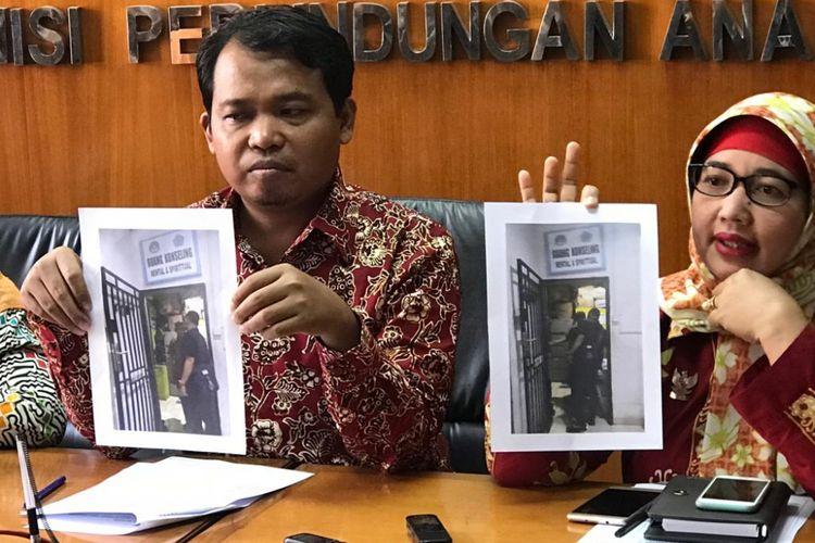 Konferensi pers KPAI terkait sekolah swasta semi-militer yang memiliki sel tahanan di Batam, Kepulauan Riau, di Kantor KPAI, Jakarta Pusat, Rabu (12/9/2018).