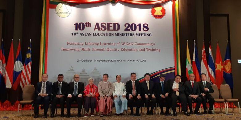 Mendikbud Muhadjir Effendy dalam Pertemuan Menteri-Menteri Pendidikan ASEAN atau Association of Southeast Asian Nations Education Ministers Meeting (ASED), di Nay Pyi Taw, Myanmar, Rabu (31/10/2018).