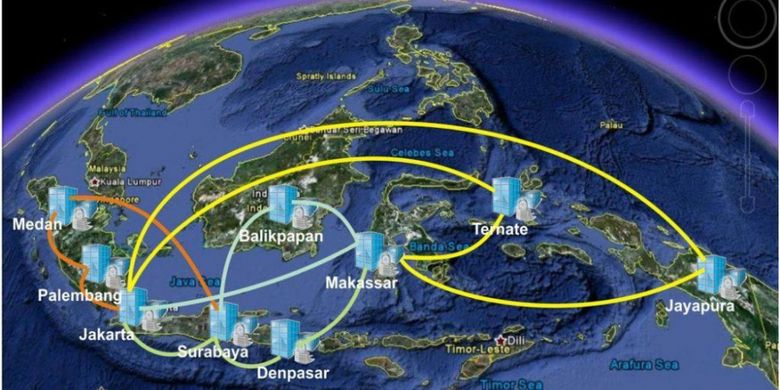 Dengan Palapa Ring, tak kurang 57 kota dan wilayah terisolir seperti Ranai di Natuna, Sangihe di ujung utara Sulawesi, Rai Juha di Laut Sabu, Alor, Wetar, Saumlaki, Tual, Timika, Nabire, dan puluhan kota lain di Indonesia Timur, tersambungkan jaringan kabel optik.