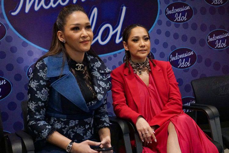 Juri Indonesian Idol 2018, Maia Estianty dan Bunga Citra Lestari dalam sesi wawancara di MNC Studios, Kebon Jeruk, Jakarta Barat, Selasa (13/3/2018).