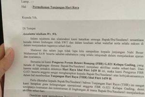 Beredarnya Surat Permohonan THR Jelang Idul Fitri dan Bantahan FBR...