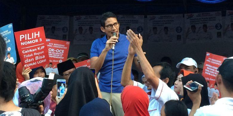 Calon wakil gubernur DKI Jakarta, Sandiaga Uno di Paseban, Jakarta Pusat, Rabu (8/3/2017).