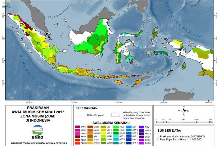 Peta prakiraan awal musim kemarau 2017 zona musim di Indonesia