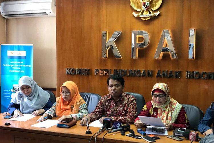 Konferensi pers KPAI soal SMK swasta semimiliter yang memiliki sel tahanan di Batam, Kepulauan Riau, di Kantor KPAI, Jakarta Pusat, Rabu (12/9/2018).