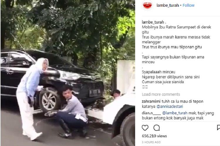 Aktivis Ratna Sarumpaet marah saat mobilnya diderek petugas Dinas Perhubungan DKI Jakarta, Selasa (3/4/2018).