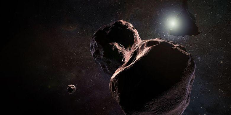 Ilustrasi New Horizons melintasi Ultima Thule atau MU69 yang terletak di sabuk kuiper.