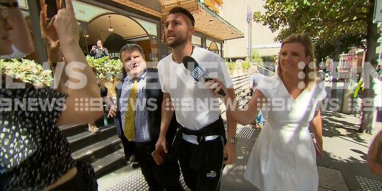 Penyerang Persija Jakarta, Marco Simic, ketika menjalani persidangan di Australia.