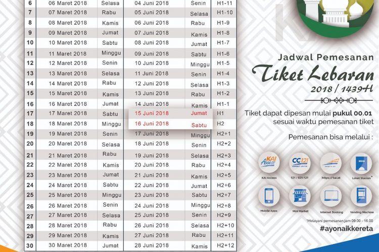 Jadwal Pemesanan Tiket Kereta Api untuk Mudik Lebaran 2018