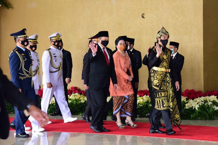 Presiden Joko Widodo menghadiri Sidang Tahunan MPR di Kompleks Parlemen, Jakarta, Jumat (14/8/2020).