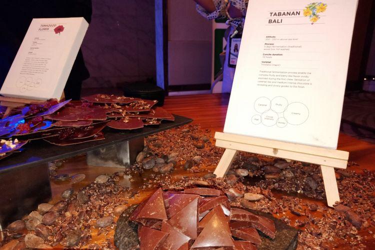 Cokelat Tabanan Bali, yang dipamerkan Pipitin Cocoa di The Westin, Jakarta, Selasa (31/7/2018).